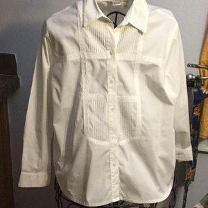 Classy White Blouse LS accented with Lace size 18W